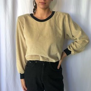 VINTAGE   70's Velour cinch top with ringer accent